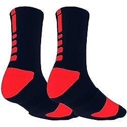Aisprts Calcetines Ciclismo, Calcetines de Algodón al Aire Libre Para el Ciclismo, Baloncesto, Escalada, Senderismo o Deportes de Montaña Utilizado NEGRO / ROJO