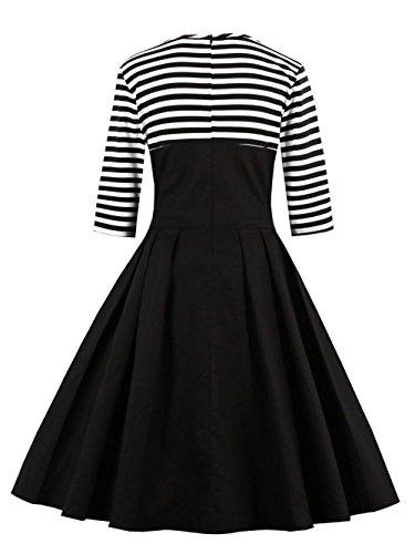 VKStar® Retro Herbst Abendkleid/Cocktailkleid mit Streifen Vintage 50er Rockabilly Swing Audrey Hepburn Kleid mit 1/2 Ärmel Rot