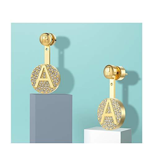 SupKey.L Buchstabe erste Tropfen Ohrringe Edelstahl Gold Farbe Buchstaben Charms Schrauben baumeln Ohrring Schmuck für Frauen -