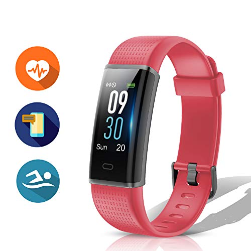 Muzili Fitness Activity Tracker with Heart Rate Monitor, IP68 Waterproof Smartwatch Bracelet Band for Android or iOS Smartphones for Adults Kids (Red)