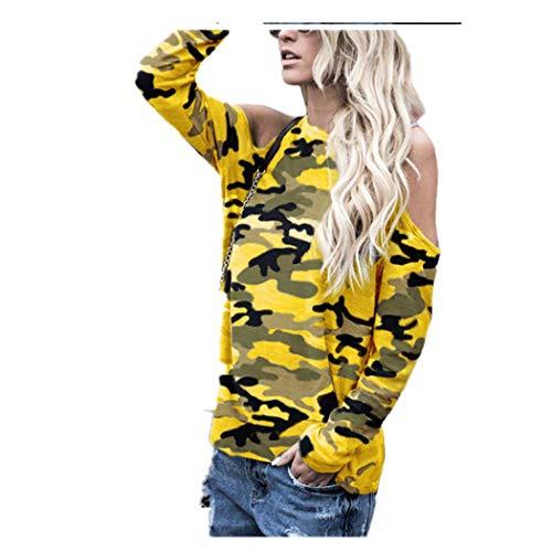 Militär-gelb T-shirt (JUTOO Frauen Schulterfrei Camouflage Langarm Bluse Tops T-Shirt(Gelb,EU:44/CN:XL))