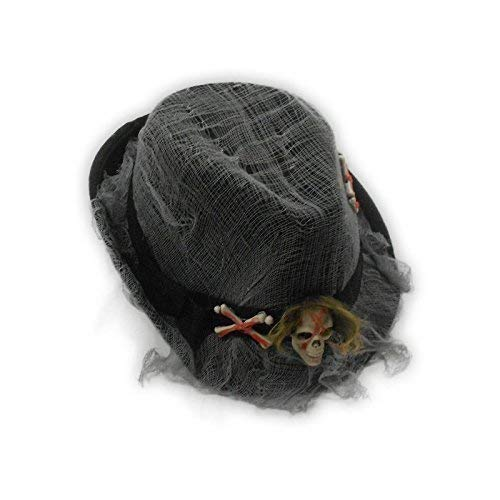 Hexenmeister Untoten Kostüm - Lively Moments Ska Hut mit Totenkopf / Lumpenhut / Halloweenhut / Horrorhut / Gangsterhut