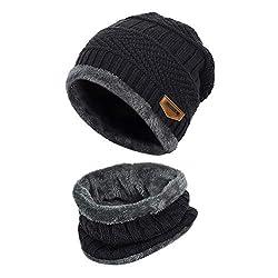 Vbiger Wintermütze Strickmütze Warme Beanie Winter Mütze und Schal mit Fleecefutter für Damen und Herren,Schwarz,Einheitsgröße