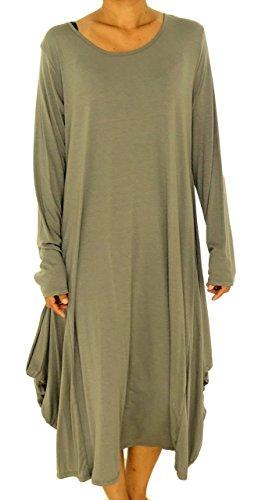 Mein Design Lagenlook de Mallorca Damen Kleid HU600 Tunika Ballonkleid Langarm Jersey Plus Size Gr. 38, 40, 42, 44 Beige