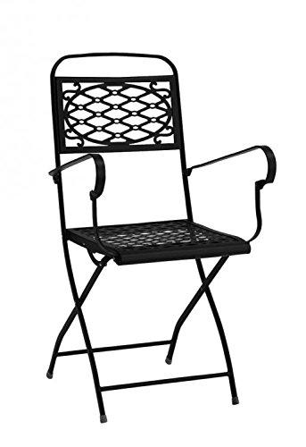 Ideapiu Fauteuil Pliant avec accoudoirs, Anthracite Fauteuil en Fer, Chaise d'extérieur Style Romantique, Chaise en Fer travaillé