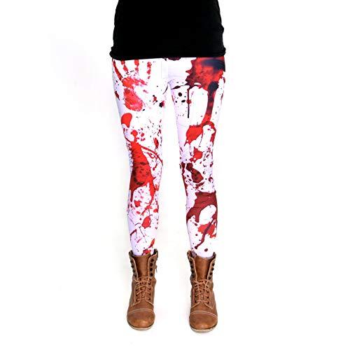 Hose Mit Kostüm - cosey - Bedruckte Bunte Halloween Leggins (Einheitsgröße) - Leggings Design Blutflecke