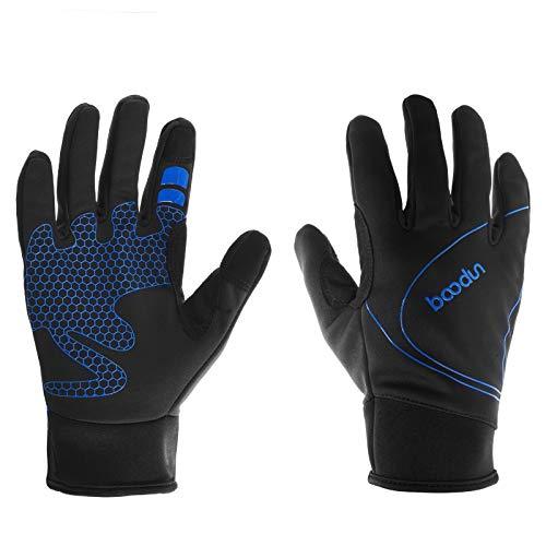 ARTOP Guantes Ciclismo Invierno, Guantes MTB Impermeable Térmico de Bicicleta Bici con Dedos Completos Pantalla Táctil para Hombre Resistentes Al Viento(Azul,M)
