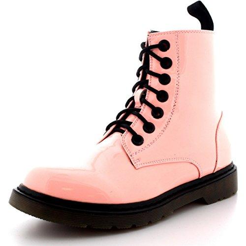 Femmes Militaire Cru Armée Lacer Goth Chaussures Plates Roche Bottes Rose Brevet