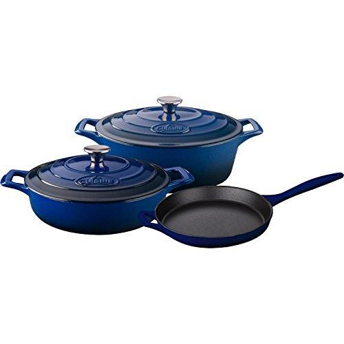 La Cuisine LC 2770 5 Piece Enameled Cast Iron Oval Casserole Cookware Set, Ultramarine Blue - Cast Iron Oval Casserole