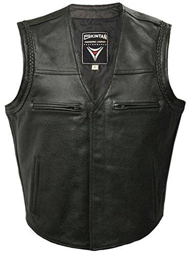 Gilet in pelle, colore: nero-Bobbie Skintan nero X-Large