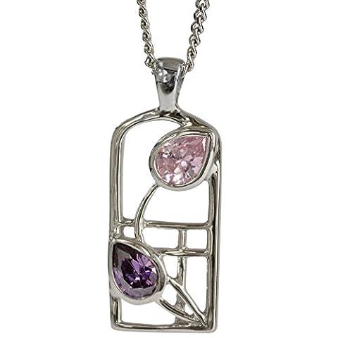 Cairn 602 Silver Rennie Mackintosh Necklace - Amethyst & Pink Cubic Zirconia