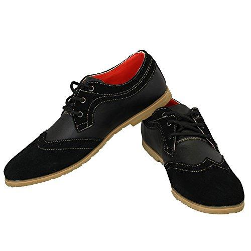 Marc Darcy - Chaussures Homme Avec Design Richelieu Décontracté Formel à Lacets Noir- C70