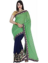 CLASSICATE From the house of Classicate From The House Of The Chennai Silks - American Georgette Saree - Fern Green & Medieval Blue - (CCRISY272)