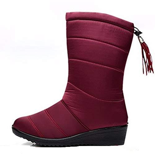 Stiefel Winterstiefel Frauen Weite Wade wasserdicht warm Mädchen Stiefeletten Schnee Mitte Kalb bequem lässig Keil Schuhe