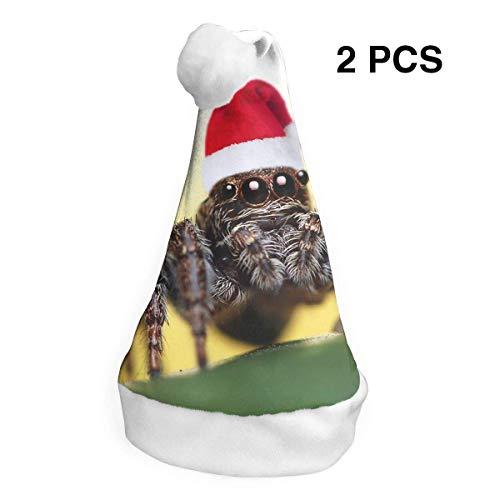 Weihnachtsmannmütze, Weihnachtsmannmütze, Spinnen-Motiv, für Erwachsene und Kinder, Kostüm, Weihnachtsdekoration, Partyzubehör (2 Stück)