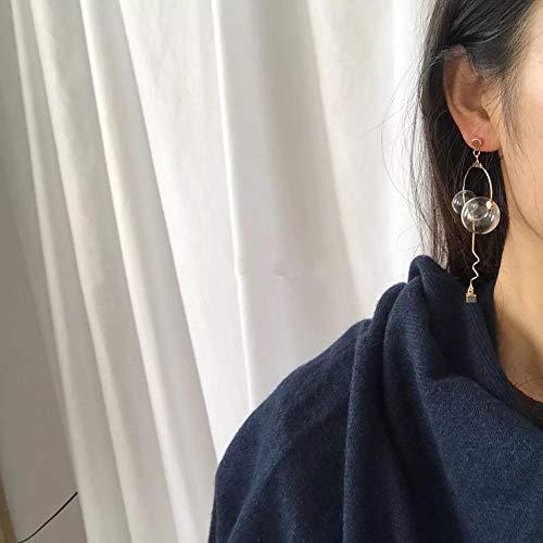PLOOKIJUH Asymmetrische Ohrringe Blase Kristall asymmetrische Ohrringe Ohrringe Ohrclips weiblich@Asymmetrisches Paar