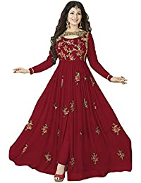 Fkart Women's Georgette Red Embroidered Long Semi-Stitched Party Wear Salwar With Dupatta