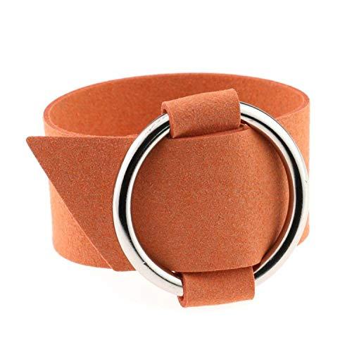 Daawqee Pulseras Charm Wide Black Velvet Leather Bracelets...