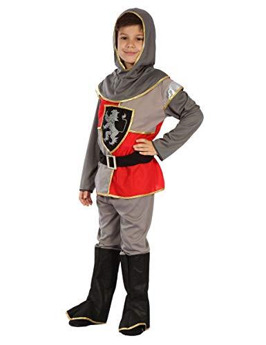 Kleiner Ritter Kinderkostüm Mittelalter silber rot schwarz 122-134
