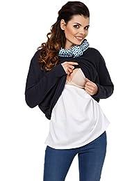 Zeta Ville - Sudadera de lactancia 2 en 1 cuello desbocado - para mujer - 795c