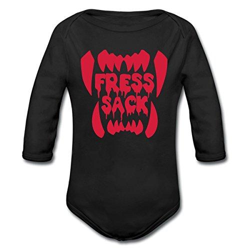 Halloween Fresssack Vampir Zähne Baby Bio-Langarm-Body von Spreadshirt®, 86/92 (1-2 Jahre), (Schnelle Last Minute Halloween Kostüme Die)