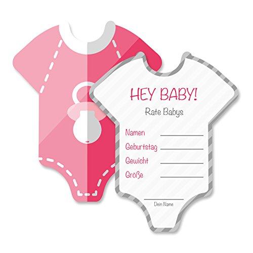 Babyparty Baby Shower Spiel-Set 8 Stück Babybody mädchen rosa pink Partyspiel Quiz Spiel Einladungskarten Deko Party Andenken Einladung Karte Geschenk Artikel