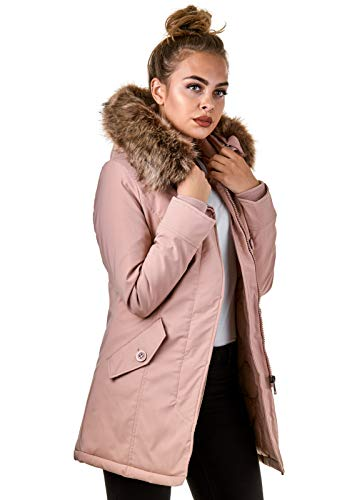 EightyFive Damen Jacke Parka Mantel Winterjacke Kunstfell Kapuze Warm Gefüttert Schwarz Khaki Rot Pink Creme EF1828-05, Größe:S, Farbe:Stone Pink