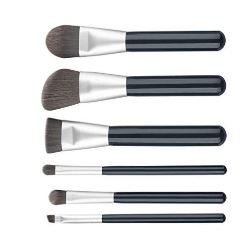 Honestyi 6PCS composent des brosses Ensemble de brosses cosmétiques Fondation Sourcil Eyeliner Rougir Concealer (noir)