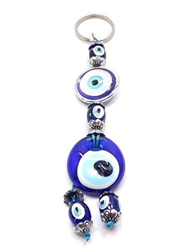 Portachiavi-Evil Eye Nazar Boncuk occhio portafortuna argento (Evil Eye Anello)