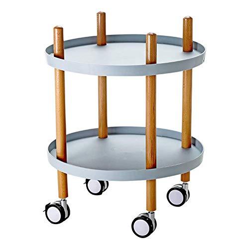 alts-Aufbewahrungshalter 2-Tier-Rollkorbstand Offee Tisch-Rollwagen für Küchen-Badezimmer-Bettregal, Speicherwagen W, Regale Räder, Blau ()