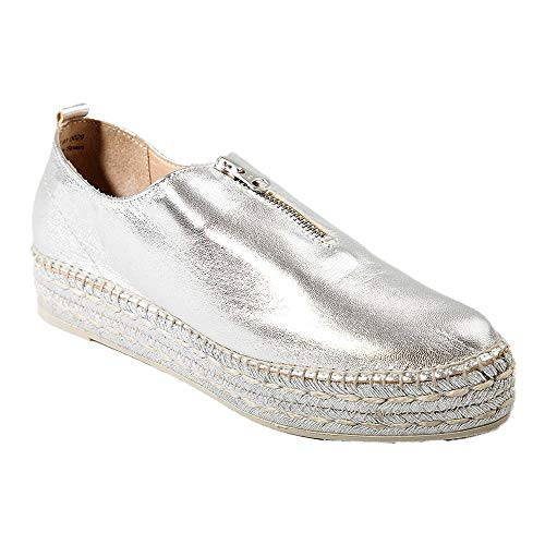 new products 16519 5db48 Espadrille Mujer, Color Plata, Modelo Ruleta, Hechas a Mano, napa y Yute