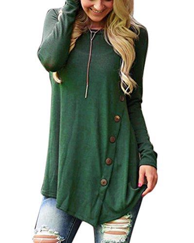 Mendove Femmes Manches longues T-shirt Blouse Tunique Top Vert armée