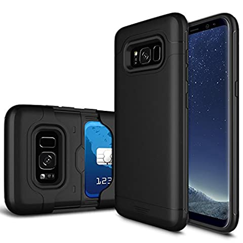Galaxy S8 Case, [Card Pocket] Heavy Duty 2-Layer Protective Shell Rubber Bumper with Sliding Card Holder Slot Wallet Case Cover for Samsung Galaxy S8 G950 VIII (5.8 Inch)