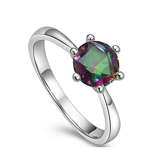 Yoursfs Silber vergoldet zierliche Solitaire Ringe für Frauen Mystic Topaz Ring mit grünem Stein österreichischen Kristall Modeschmuck