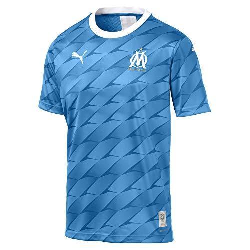 PUMA Herren OM Away Replica SS mit Sponsor Trikot, Blue Azur White, XXL (Marseille Fussball Trikot)