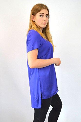 Ex Evans Ladies Evans - T-Shirt à Encolure Ronde et Devant en Satin | Coupe Ample Bleu Cobalt