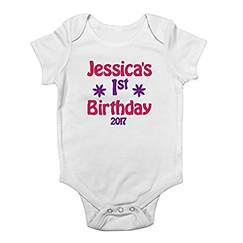 Personalised Embroidered with ANY NAME 1st Birthday Boys and Girls Baby Bodysuit Vest (9-12 Months, Pink Flower)