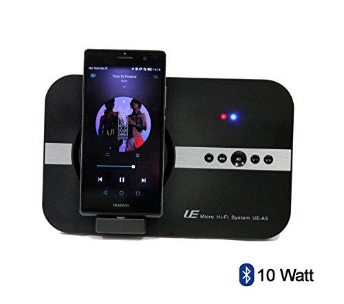 Spartechnik 10 Watt Micro Hi-Soundsystem für Huawei Ascend P7 P8 P8 Lite Y7 Mate 7 Mate S P 10 Lite für Musik Video YouTube Skype Micro-USB & Bluetooth Fernbedienung Lautsprecher schwarz