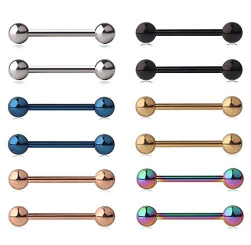 DIKETE 12pcs 316L Edelstahl Zunge Nippel Schild Barbell Ring Bar mit Kugeln Körper Piercing Schmuck Mix-Farbe 0,6