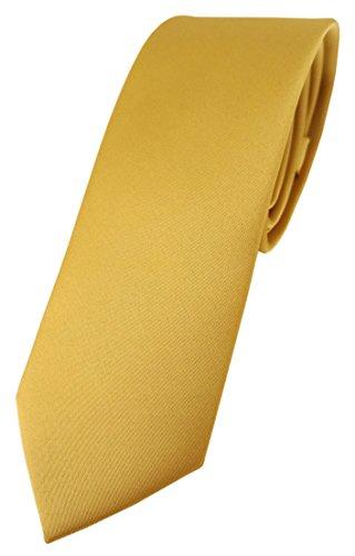 TigerTie schmale Designer Krawatte in gold einfarbig Uni - Tie Schlips Krawatte