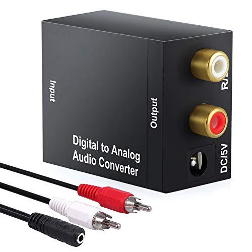 ESYNiC DAC Convertitore da Digitale ad Analogico con USB Cavo di Alimentazione - Adattatore Audio Digitale Ottico Coassiale Toslink ad Analogico Stereo RCA per PS3 XBox 360 HDTV Blu RAY DVD Sky TV Box
