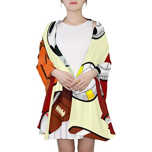 SHAOKAO Bunter Fußball-Fußball-Sport-einzigartiger Mode-Schal für Frauen Leichte Mode-Fall-Winter-Druck-Schal-Schal-Verpackungs-Geschenke für frühen Frühling -