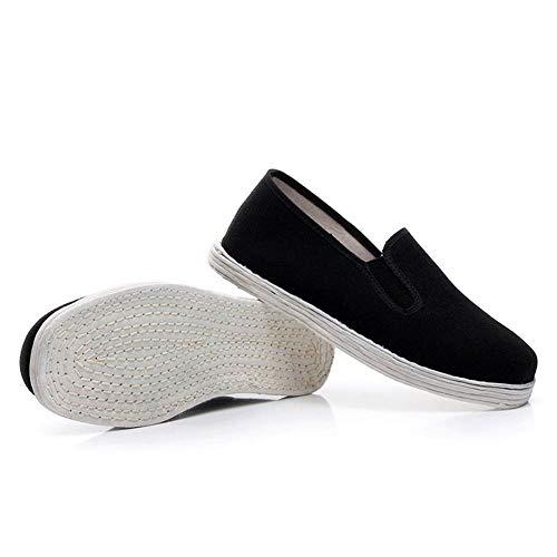 Dpliu-FS Tai Chi Kung Fu Schuhe Unisex Kung Fu Kampfkunst-Schuhe Shaolin Monks Schuhe Baumwolle Tai Chi Wushu Sneakers Handmade (Color : Black, Size : 40) -