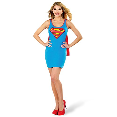 Supergirl Kostüm Damen Mini Kleid mit abnehmbarem Umhang DC Comics lizenziert - M