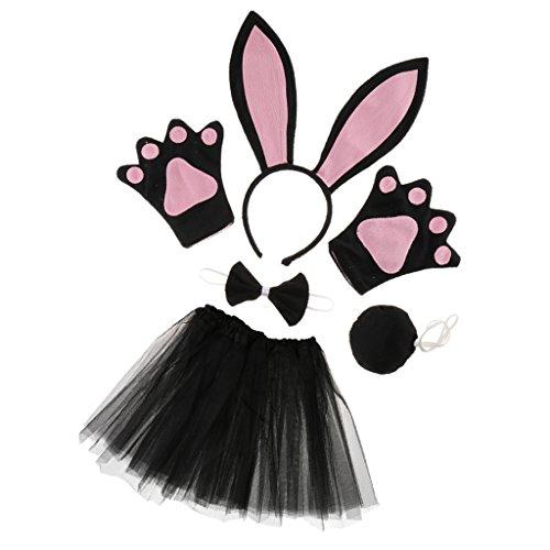 Homyl Hasen kostüm Set - Hasenohren Stirnband, Fliege, Handschuhe, Tutu Rock und Schwanz - Tierkostüm für Damen Mädchen, Schwarz / Weiß - Schwarz und - Rosa Und Schwarz Tutu Kostüm