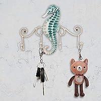 Tooarts Iron Wall Hanger Hook 4 Hooks Decor for Coats Bags Keys Wall Mount Clothes Holder Decorative Gift (Seahorse)
