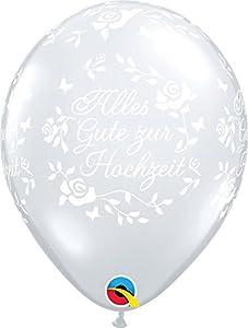Qualatex Alles Gute Zur Hochzeit Roses Globo de látex de Diamante Redondo, Transparente, 11 Pulgadas