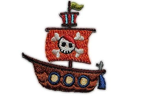 alles-meine.de GmbH Kleines Schiff - 4 cm * 4,4 cm - Bügelbild / Aufnäher Applikation - Piratenboot Piratenschiff - Piraten - Seefahrer - für Kinder & Erwachsene - Bügelflicken (Piraten-boot Erwachsene)