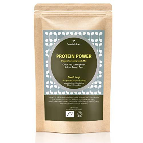 Seedelicious Protein Power Bio-Sprossen-Samen - Mix aus 5 Gemüse-Samen mit Kichererbsen, Erbsen, Mungbohnen und Adzukibohnen - Schnell wachsendes Superfood für besonders gesunde Ernährung | 500g/1kg (Saatgut Schnell)