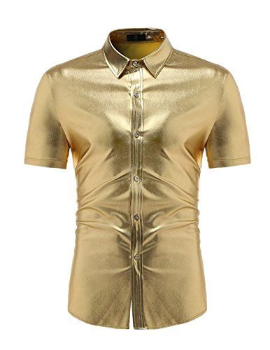 Mens Pure Farbe Kurzarm Hemd GreatestPAK,Gold,L (Rock Solid Tattoo)